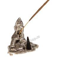 Stojánek na vonné tyčinky a kužílky kovový - Ganéš (Ganesh) ležící Indie