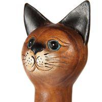 Soška Kočka dřevo kuželka 38 cm Thajsko