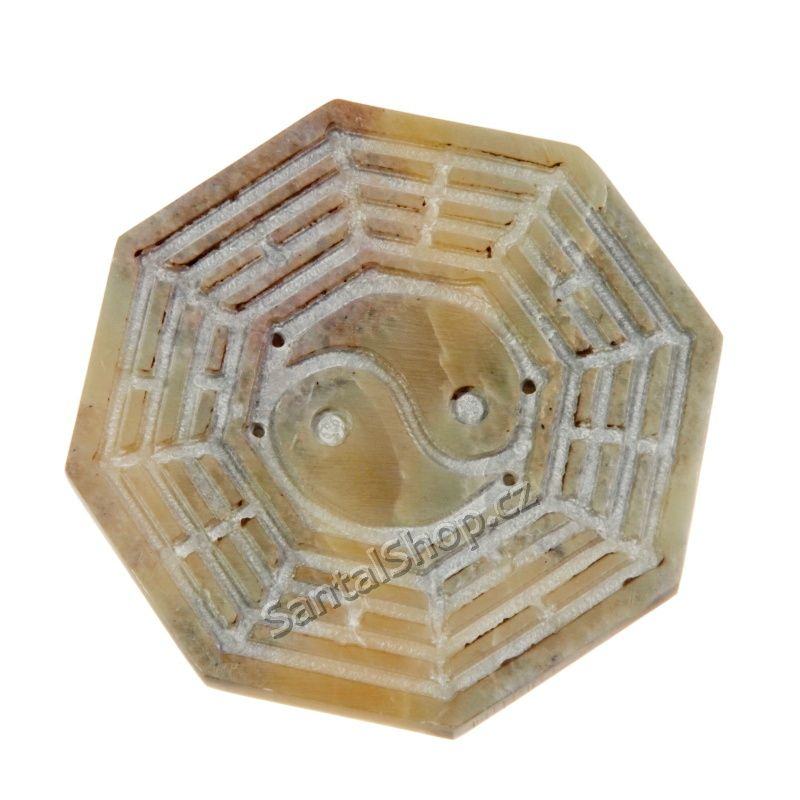 Stojánek na vonné tyčinky kamenný - jin jang s trigramy Indie