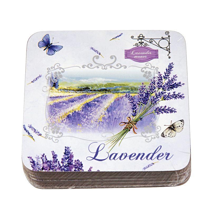 Korkové prostírání Lavender manor 6ks 10x10cm