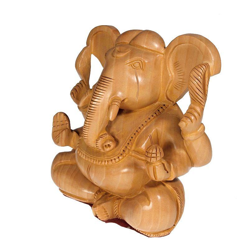 Soška Ganéša (Ganesh) dřevo 15 cm Indie