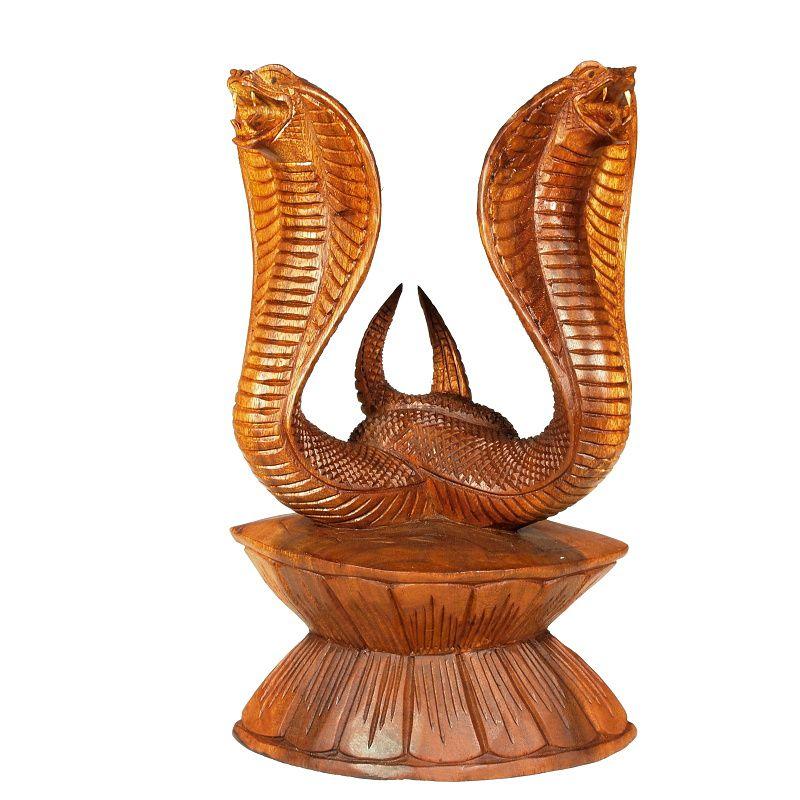 Soška Dvě kobry dřevo 29 cm Indonesie