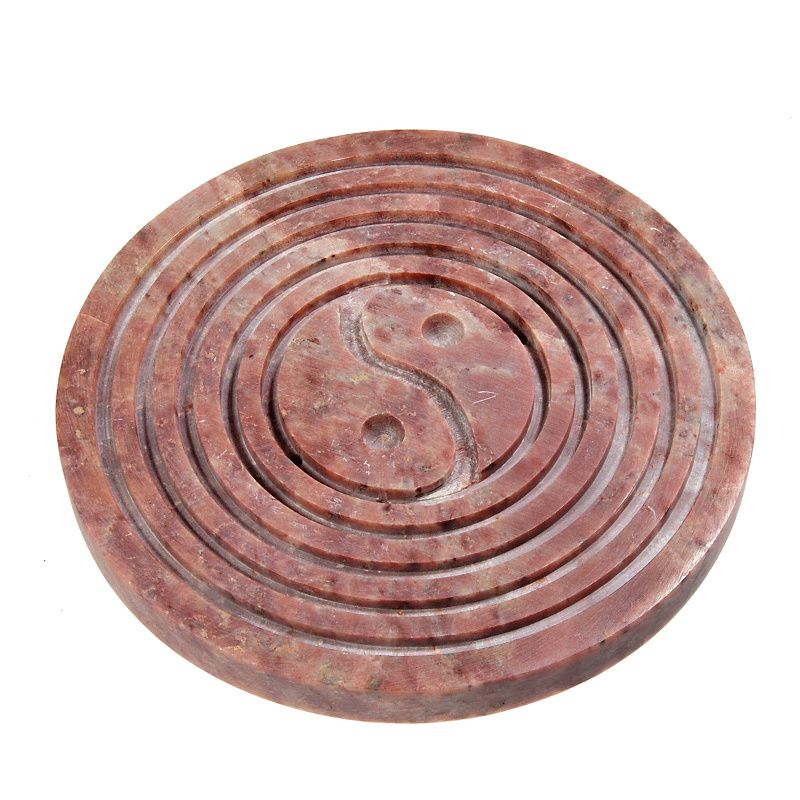 Stojánek na vonné tyčinky kamenný - jin jang s kruhy Indie