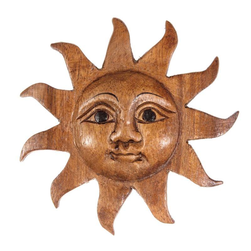 Dekorace na stěnu Slunce dřevo 13 cm Thajsko