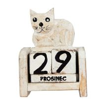 Kalendář Kočka bílá ležící 10 cm