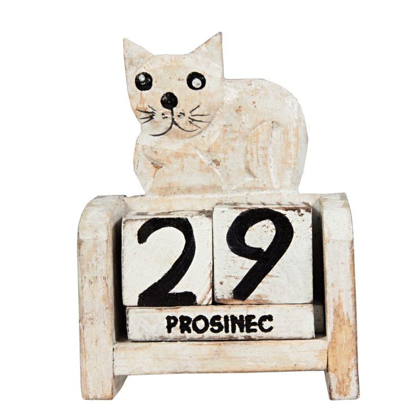 Kalendář dřevěný Kočka bílá ležící 10 cm Indonesie