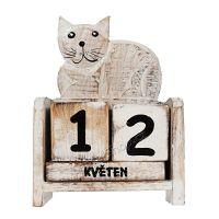 Kalendář Kočka ležící 14 cm bílá