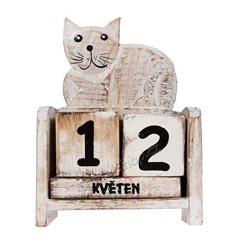 Kalendář dřevěný Kočka ležící 14 cm bílá