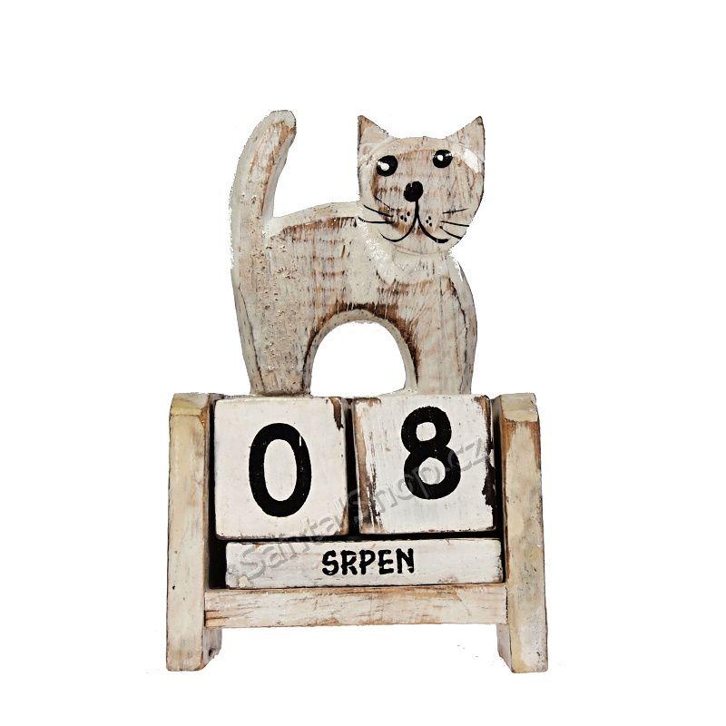 Kalendář dřevěný Kočka stojící 11 cm bílá
