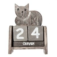 Kalendář Kočka šedá ležící 14 cm
