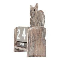 Kalendář dřevěný Kočka šedá ležící 14 cm Indonesie