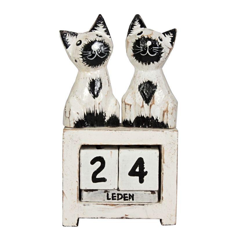 Kalendář dřevěný Kočky bílé stojící 13 cm Indonesie