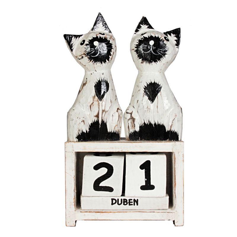 Kalendář dřevěný Kočky bílé stojící 20 cm Indonesie