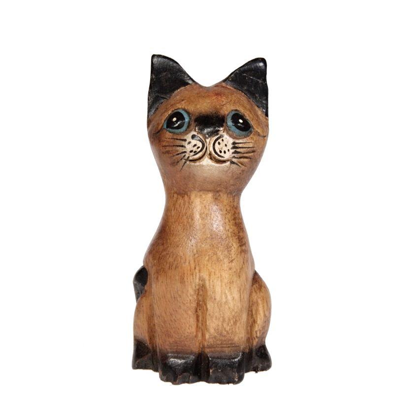 Soška Kočka dřevo kuželka 11 cm Thajsko
