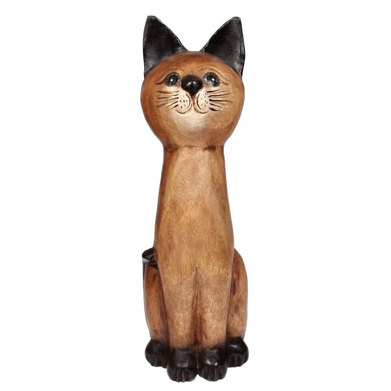 Soška Kočka dřevo kuželka 16 cm Thajsko