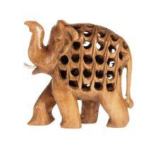 Soška Slon dřevo 07 cm prořezávaný