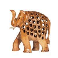 Soška Slon dřevo 08 cm prořezávaný