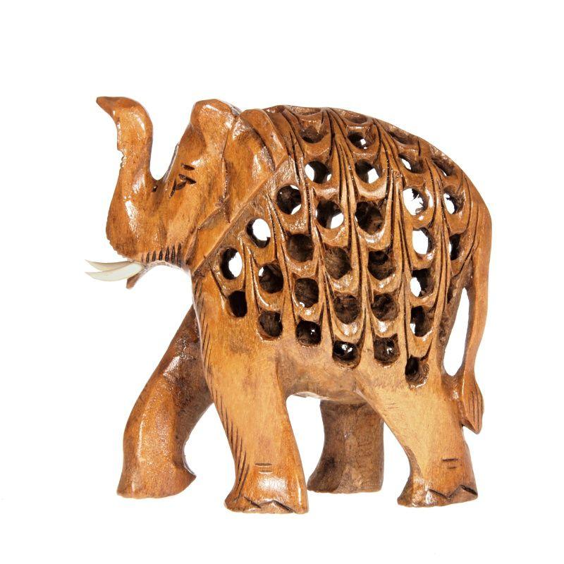 Soška Slon dřevo 8 cm prořezávaný