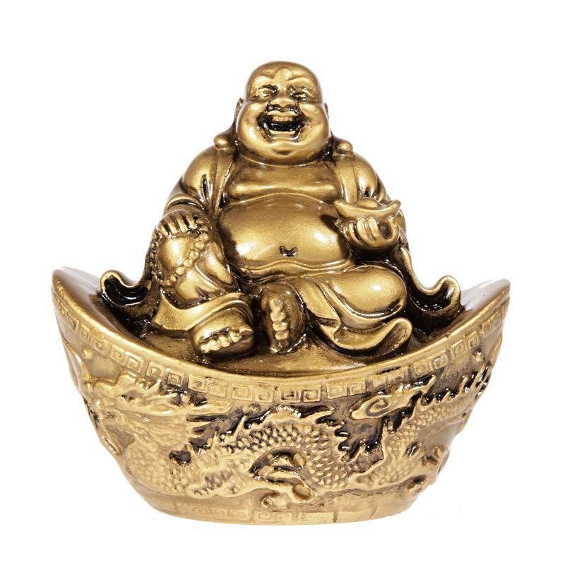 Soška Hotei smějící se buddha resin 10 cm na ingotu Čína