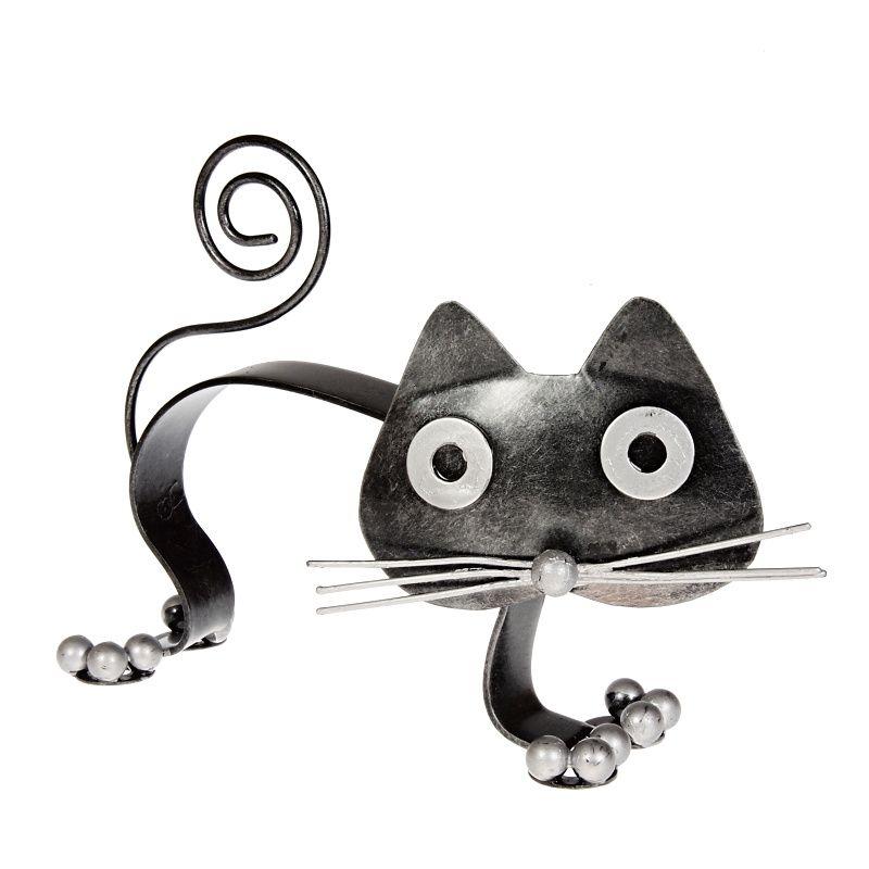 Soška Kočka kov vlnovka 12 cm Indonesie