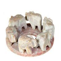Stojánek na vonné tyčinky - sloni v kruhu III