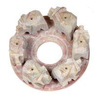 Stojánek na vonné tyčinky kamenný - sloni v kruhu III Indie