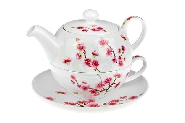 Čajová souprava Třešeň - tea for one porcelánová Oxalis