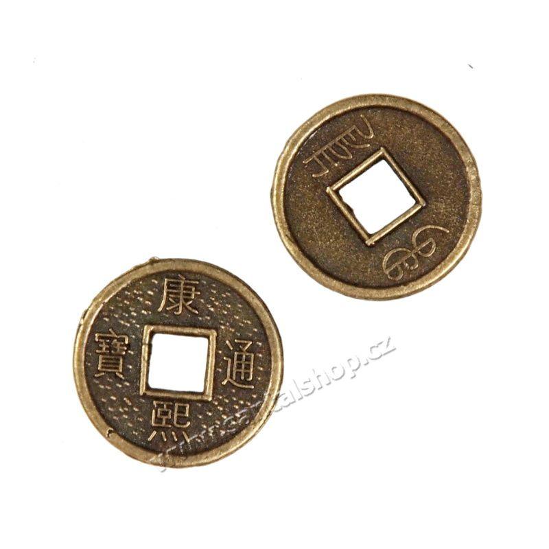 Čínská mince 13 mm sada 2 kusy amulet bohatství