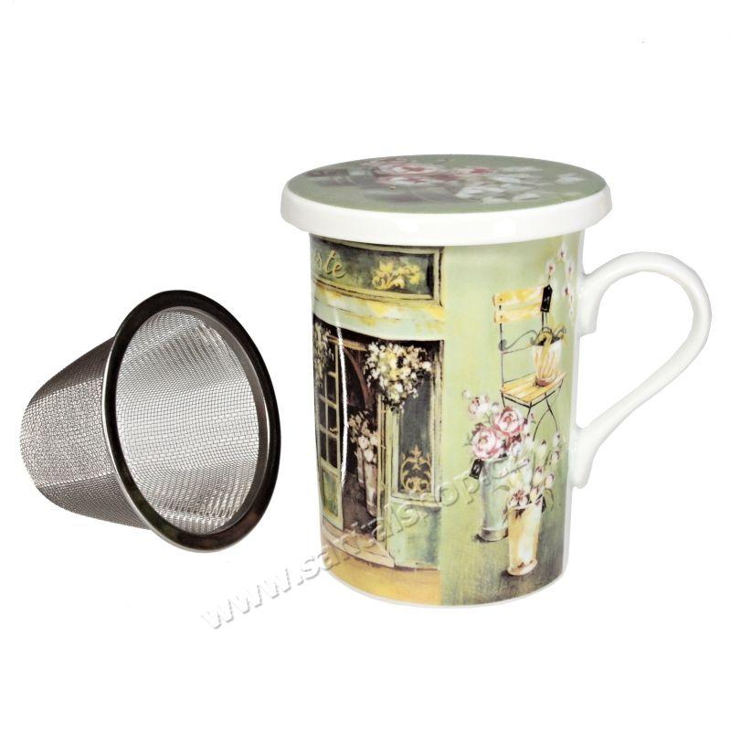 Hrnek se sítkem a pokličkou Fleuriste 250 ml porcelánový Casa de Engel