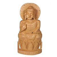 Soška Buddha dřevo 21 cm