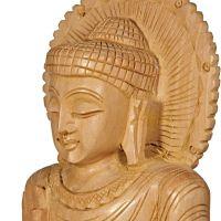 Soška Buddha dřevo 21 cm Indie