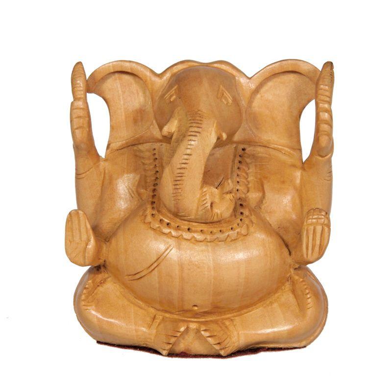 Soška Ganéša (Ganesh) dřevo 08 cm II Indie