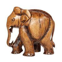Soška Slon dřevo 13 cm s chobotem dolů