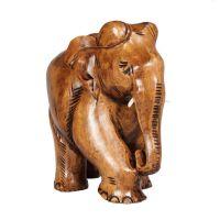 Soška Slon dřevo 13 cm s chobotem dolů Indie