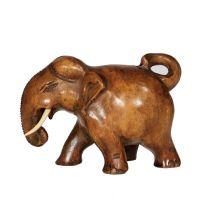 Soška Slon dřevo 08 cm stočený ocas