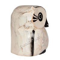 Soška Sova dřevo bílá s konturou 10 cm Indonesie