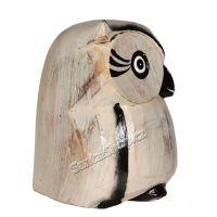 Soška Sova dřevo bílá s konturou 12 cm Indonesie