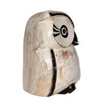 Soška Sova dřevo bílá s konturou 15 cm Indonesie