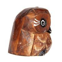Soška dřevěná Sova hnědá 7 cm Indonesie