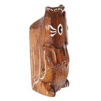 Soška dřevěná Sova hnědá řezba 7 cm Indonesie