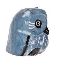 Soška dřevěná Sova modrá 7 cm Indonesie