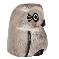 Soška dřevěná Sova šedá 10 cm Indonesie