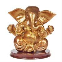 Soška Ganéša resin 11 cm zlatý sedící