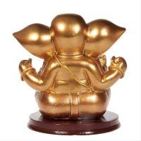 Soška Ganesh resin 11 cm zlatý sedící