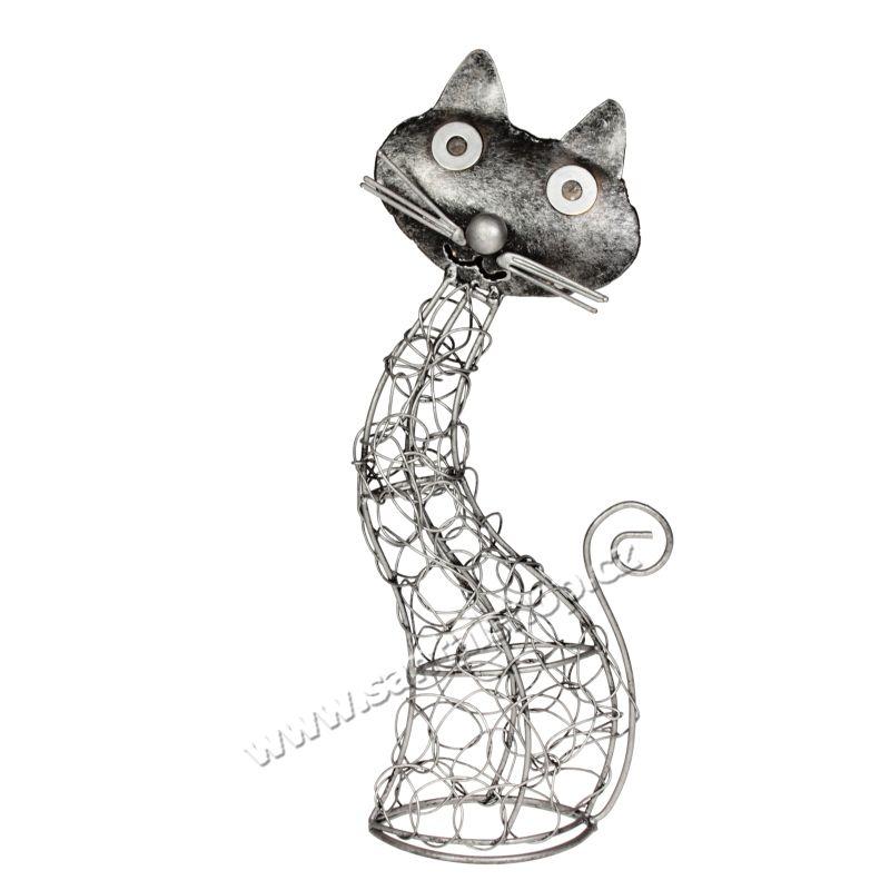 Soška Kočka kov proplétaná 26 cm Indonesie