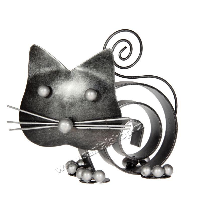 Soška Kočka kov spirála 10 cm Indonesie