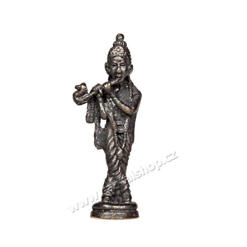Soška Krishna kov mini 4,5 cm Indie