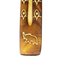 Stojánek na vonné tyčinky dřevěný - lyže antique žlutá Slon Indie