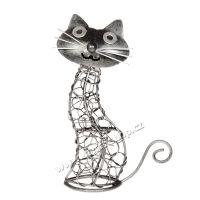 Soška Kočka kov proplétaná 22 cm