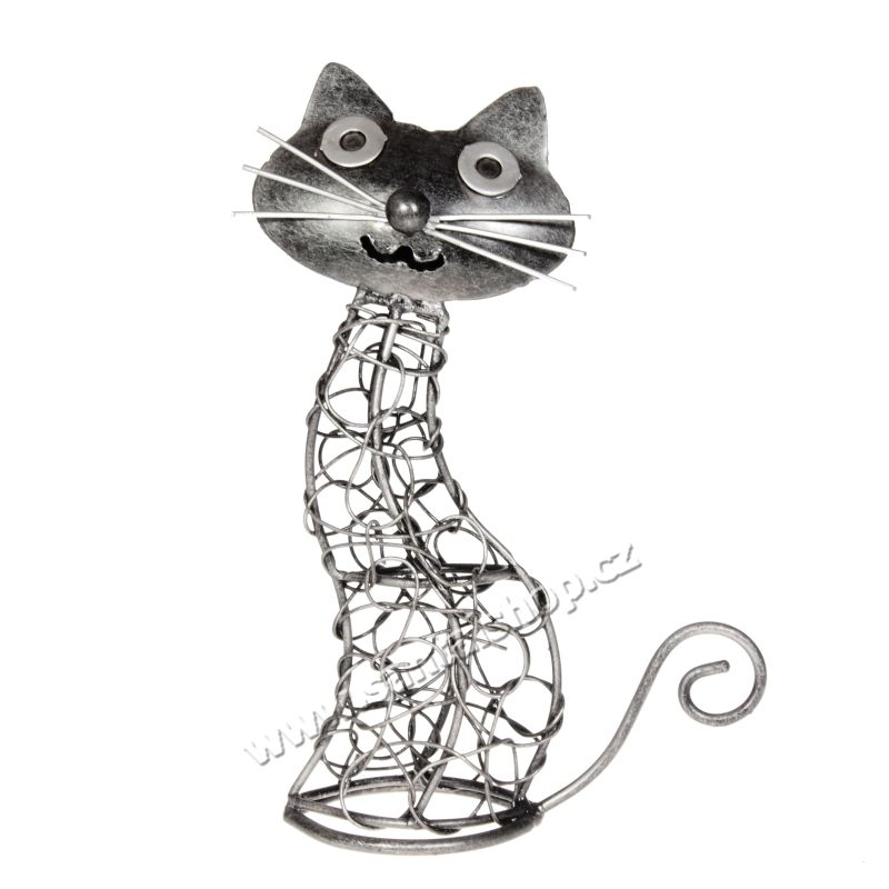 Soška Kočka kov proplétaná 22 cm Indonesie